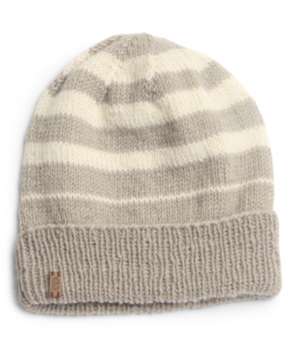 Wool Beanie Hat Striped - Cloud Grey